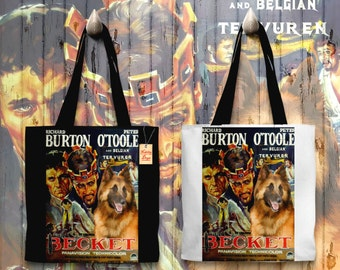 Belgian Tervuren Art Tote Bag   Becket Movie Poster by Nobility Dogs