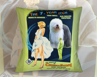 Old English Sheepdog Art Pillow    The Seven Year Itch Movie Poster   by Nobility Dogs