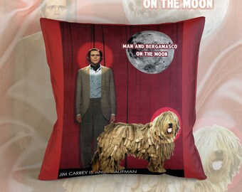 Bergamasco Art Pillow Case Throw Pillow - Man on the Moon Movie Poster  Perfect DOG LOVER Gift for Her Gift for Him