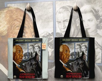 Great Dane Art Tote Bag   Rear Window Movie Poster by Nobility Dogs