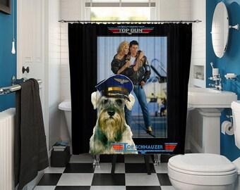 Schnauzer Art Shower Curtain, Dog Shower Curtains, Bathroom Decor - Top Gun Movie Poster  Perfect CHRISTMAS Gift SALE 25 off Free Shipping