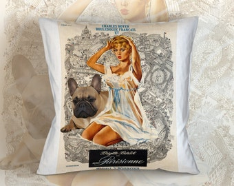 French Bulldog Art Pillow    La Parisienne Movie Poster   by Nobility Dogs