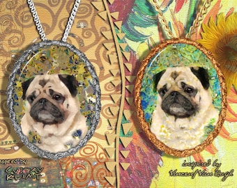 Pug Jewelry Pendant Brooch Handcrafted