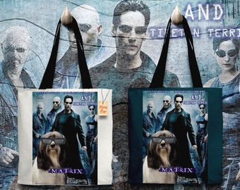 Tibetan Terrier Art Tote Bag   Matrix Movie Poster    by Nobility Dogs