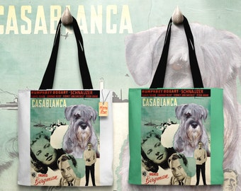 Schnauzer Art Tote Bag   Casablanca Movie Poster by Nobility Dogs