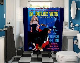 Bernese Mountain Dog Art Shower Curtain, Dog Shower Curtains, Bathroom Decor -La Dolce Vita Movie Poster