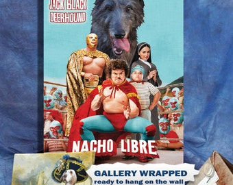 Scottish Deerhound Art Print Nacho Libre Vintage Movie Poster by Nobility Dogs