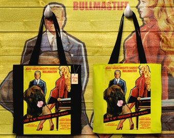 Bullmastiff Art Tote Bag   Love Is My Profession Movie Poster by Nobility Dogs