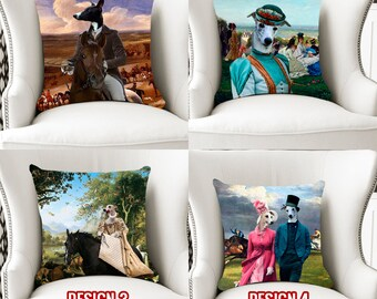 Christmas Gifts Whippet Art Pillow   Personalized Dog   Dog Lover  by Nobility Dogs Arts
