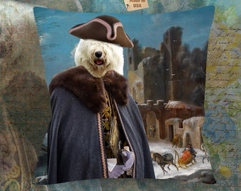 Christmas Gifts Old English Sheepdog Art Pillow    Dog Lover  by Nobility Dogs Arts