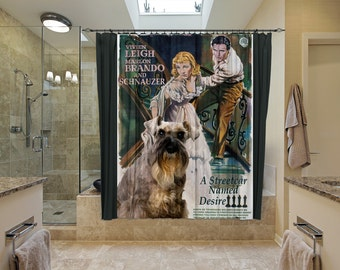 Schnauzer Art Shower Curtain, Dog Shower Curtains, Bathroom Decor - A Streetcar Named Desire Movie Poster
