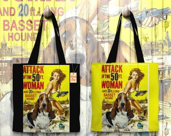 Basset Hound Art Tote Bag - Attack of the 50 Foot Woman Movie Poster   Perfect DOG LOVER Gift for Her Gift for Him
