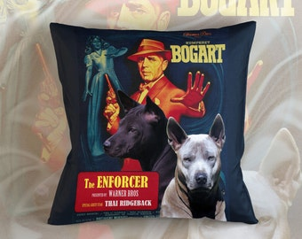 Thai Ridgeback Dog Art Pillow    The Enforcer Movie Poster   by Nobility Dogs