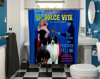 Border Collie Art Shower Curtain, Dog Shower Curtains, Bathroom Decor - La Dolce Vita Movie Poster