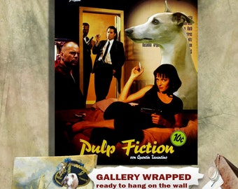 Whippet Art Print Pulp Fiction Movie Poster by Nobility Dogs