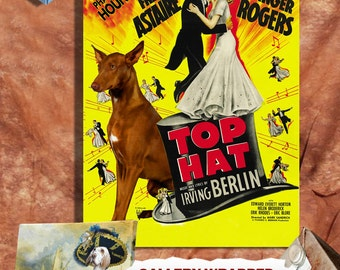Pharaoh Hound Vintage Movie Style Poster Canvas Print - Top Hat   Perfect DOG LOVER GIFT Gift for Her Gift for Him Home Decor