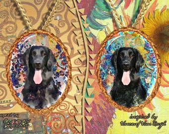 Flat Coated Retriever Jewelry Pendant   Brooch Handcrafted Porcelain by Nobility Dogs   Gustav Klimt and Van Gogh