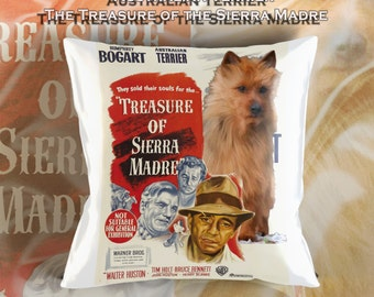 Australian Terrier Art Pillow    The Treasure of the Sierra Madre Movie Poster  by Nobility Dogs