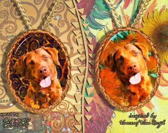 Chesapeake Bay Retriever Jewelry Pendant   Brooch Handcrafted Porcelain by Nobility Dogs   Gustav Klimt and Van Gogh