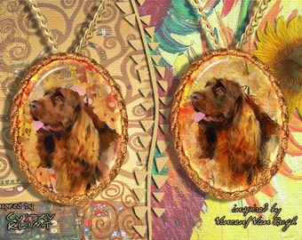 Sussex Spaniel Jewelry Pendant   Brooch Handcrafted Porcelain by Nobility Dogs   Gustav Klimt and Van Gogh