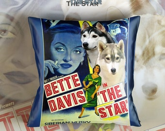Siberian Husky Art Pillow    The Star Movie Poster   by Nobility Dogs