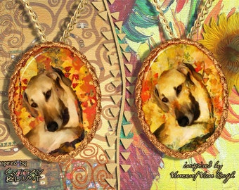 Sloughi Jewelry Pendant - Brooch Handcrafted Porcelain by Nobility Dogs - Gustav Klimt and Van Gogh