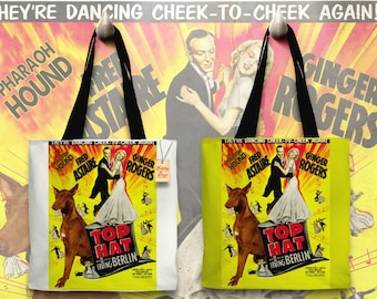 Pharaoh Hound Art Tote Bag - Top Hat Movie Poster   Perfect DOG LOVER Gift for Her Gift for Him