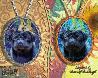 Pug Jewelry Pendant Brooch Handcrafted Porcelain by Nobility Dogs