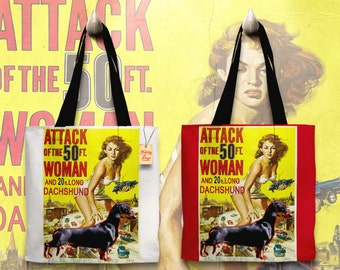 Dachshund Art Tote Bag   Attack of the 50 Foot Woman Movie Poster by Nobility Dogs