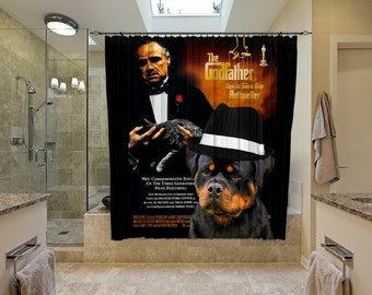 Rottweiler Art Shower Curtain, Dog Shower Curtains, Bathroom Decor   The Godfather Movie Poster