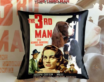 English Springer Spaniel Art Pillow    The Third Man Movie Poster   by Nobility Dogs