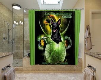 Australian Kelpie Art Shower Curtain, Dog Shower Curtains, Bathroom Decor -Alien Movie Poster