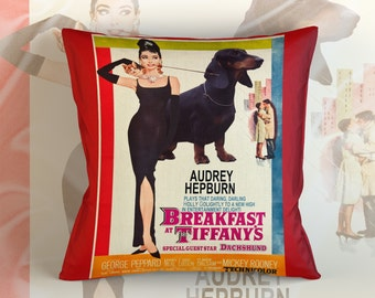 Dachshund Art Pillow    Breakfast at Tiffany's Movie Poster   by Nobility Dogs