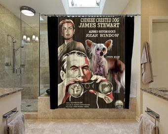 Chinese Crested Dog Art Shower Curtain, Dog Shower Curtains, Bathroom Decor   Rear Window Movie Poster