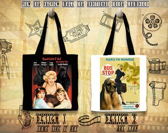 American Cocker Spaniel Tote Bag Cocker Spaniel Portrait Cocker Spaniel Art Custom Dog Portrait Movie Poster Bus Stop Some Like It Hot