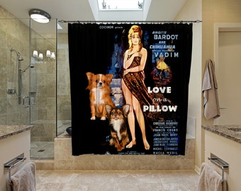 Chihuahua Art Shower Curtain, Dog Shower Curtains, Bathroom Decor -  Love on a Pillow Movie Poster