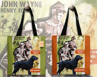 Curly Coated Retriever Art Tote Bag   Fort Apache Movie Poster    by Nobility Dogs