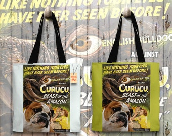 English Bulldog Art Tote Bag - Curucu Movie Poster   Perfect DOG LOVER Gift for Her Gift for Him