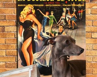 Italian Greyhound Art La Dolce Vita Vintage Vintage Movie Poster by Nobility Dogs