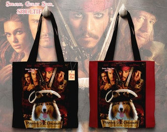 Shetland Sheepdog Art Tote Bag   Pirates of the Caribbean Movie Poster by Nobility Dogs