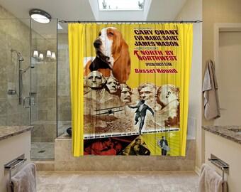 Basset Hound Art Shower Curtain, Dog Shower Curtains, Bathroom Decor - North by Northwest Movie Poster