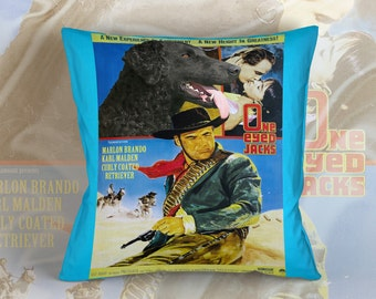 Curly Coated Retriever Art Pillow  One Eyed Jacks Movie Poster   by Nobility Dogs