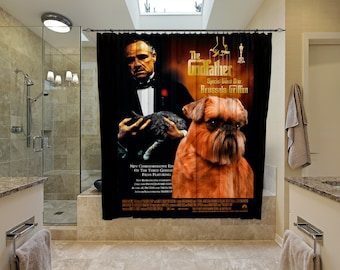 Brussels Griffon Art Shower Curtain, Dog Shower Curtains, Bathroom Decor   The Godfather Movie Poster