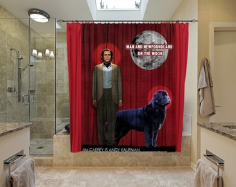 Newfoundland Art Shower Curtain, Dog Shower Curtains, Bathroom Decor   Man on the Moon Movie Poster