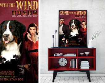 Bernese Mountain Dog Gone with the Wind Vintage Movie Poster by Nobility Dogs