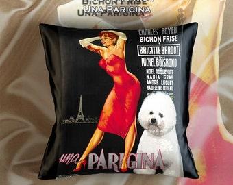 Bichon Frise Art Pillow Une Parisienne Movie Poster   by Nobility Dogs