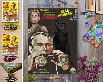 Australian Kelpie Dog Art Rear Window Movie Poster Vintage Style Dog Lover Christmas Gift