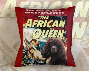 Irish Water Spaniel Art Pillow    The African Queen Movie Poster   by Nobility Dogs