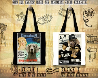Weimaraner Print Tote Bag inspired by Movie Poster River of No Return and The Blues Brothers Gift for Her by Nobility Dogs