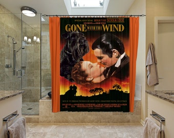 Miniature Schnauzer Art Shower Curtain, Dog Shower Curtains, Bathroom Decor   Gone with the Wind Movie Poster
